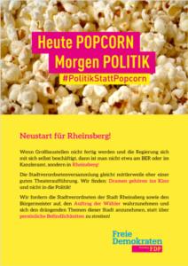 Flyer Politik statt Popcorn